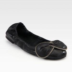 09360fe3551 See by Chloe Black Leather Zipper Bow Ballet Flats